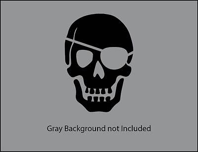 Skull pirate eye patch vinyl decal sticker for wall, car, laptop, phone, etc