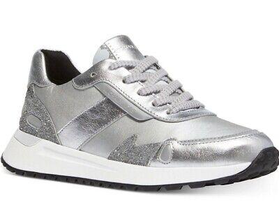 NIB Size 10 Michael Kors Monroe Leather Trainer Sneakers Metallic Silver