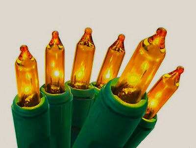 100 Gold Amber Orange Mini Holiday Bulbs Lights Wedding Christmas Time Fall covid 19 (100 Amber Mini coronavirus)