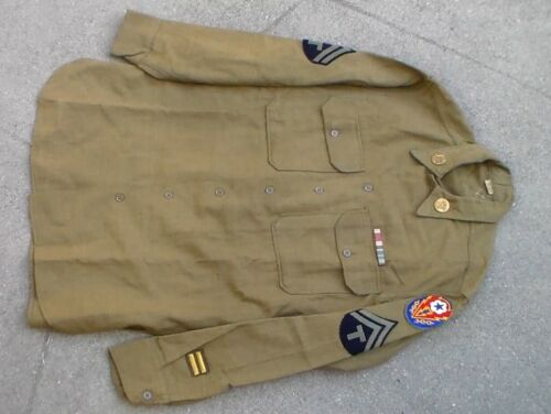 Old WW2 era US Army Enlisted Wool Olive Drab Shirt & Patches & Insignia USED