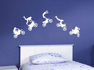 wandaufkleber motocross set motorrad biker wohnzimmer kinderzimmer wandtattoo ebay. Black Bedroom Furniture Sets. Home Design Ideas