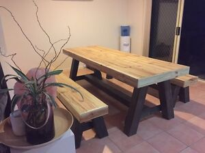 New made to order custom table and matching bench seats Highland Park Gold Coast City Preview