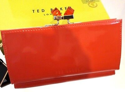 TED BAKER TRONTO PATENT CRYSTAL TANGERINE RED PURSE BNWT RRP £89.00 IN BOX