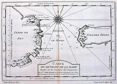 Antique map, Carte Du Detroit De Le Maire