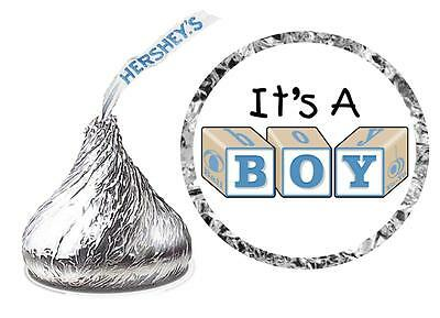 (216 IT'S A BOY BABY BLOCKS BABY SHOWER FAVORS HERSHEY KISS KISSES LABELS)