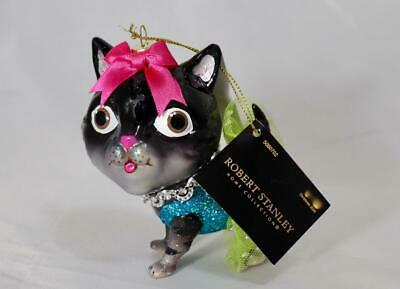 2020 Robert Stanley Black Ballerina Cat With Green Tutu Glass Xmas Tree Ornament