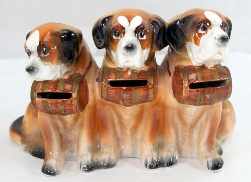 Vintage 3 Three St. Bernard Dogs Coin Bank