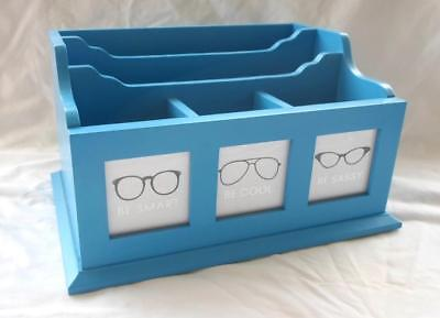 Home Office Wood Desk Organizer Blue 5 Slot Files Pen Pencil Scissors Supplies