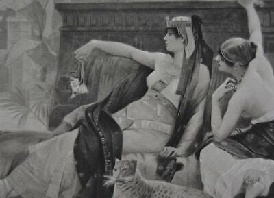 Ancient Egyptian Cleopatra Rare Antique Original 1880's Engraving 11x16