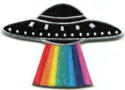 Rainbow UFO alien LGBT flying disc diy embroidered applique iron-on patch S-1620