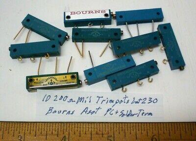 10 Trim Pots Military 200 Ohms Pc Solder Mount Assorted Bourns Lot 230 Usa
