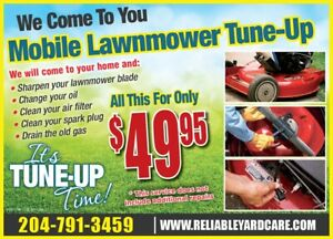 """Winnipeg's MOBILE Lawnmower Tune-Up.    """"We Come To You"""""""