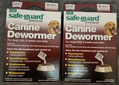 TWO BOXS SafeGuard dewormer fenbendazole Dogs 40 lbs 4gm 3 Pack dose Wormer