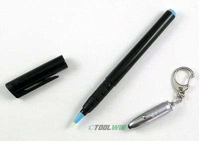 Invisible Ink Pen with UV Flashlight LED Black Light Reactive Secret Marker Set