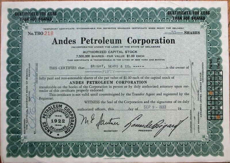 Oil 1933 Stock Certificate: Andes Petroleum Corporation - Delaware