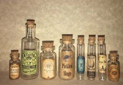 Halloween Small Apothecary Bottles Potion Decorations Witch And Wizard