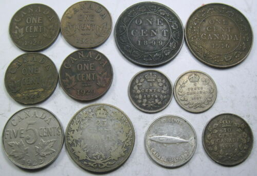 Scarce Lot of 12 different Canadian Coins - dated 1874 to 1967  (#51A)