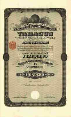 Maatschappij voor Tabakhandel TABACUS M.J.Herzog Cavalla 1925 Amsterdam 100 Guld