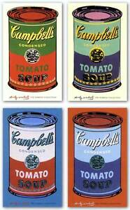 HUGE-4-ART-PRINT-SET-Campbells-Soup-Can-1965-by-ANDY-WARHOL-60x40-Pop-Poster
