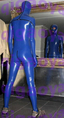 100% Latex Rubber Gummi Zentai Catsuit .45mm Blue man Blueman Bodysuit Suit Wear Zentai Anzüge