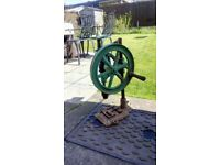 Antique pillar drill / hand or belt driven flywheel / Autofeed / £75ono