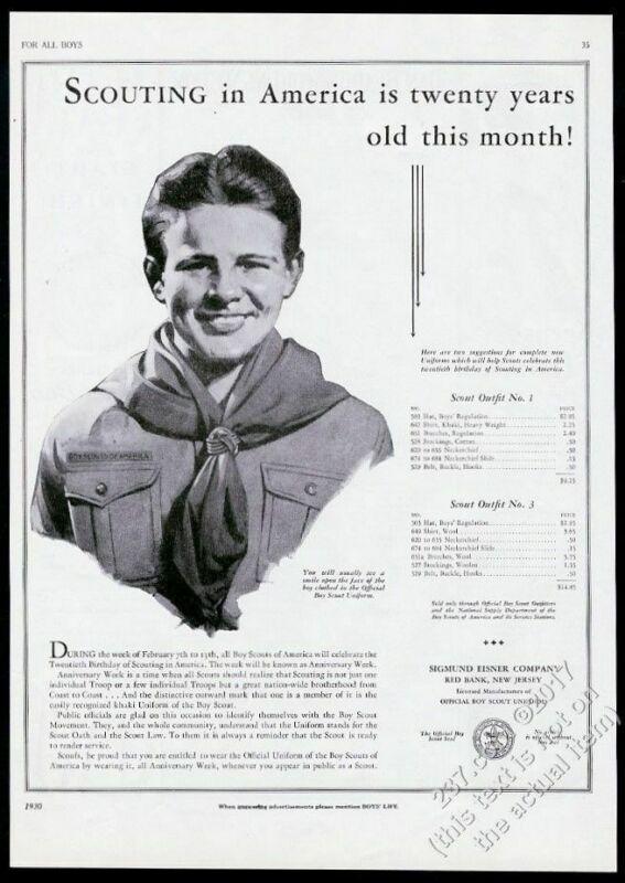 1930 Boy Scouts 20th anniversary Scout uniform art vintage print ad