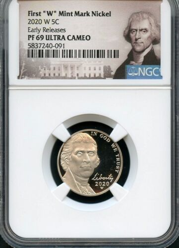 "2020 W First ""W"" Mint Mark Nickel Early Releases NGC PF69 Ultra Cameo Portrait"