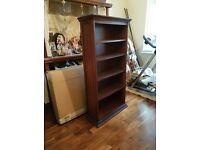2 x dark brown wooden bookshelf units