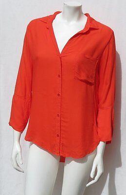 BELLA DAHL USA Bright Orange Super Soft 100% Rayon Blouse Shirt Top size
