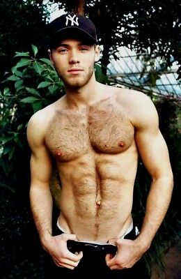 Shirtless Male Muscular Gym Jock Masculine Hairy Physique Hunk PHOTO 4X6 F1393