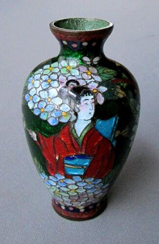 "ANTIQUE Miniature 3 3/4"" JAPANESE CLOISONNE VASE Geisha Girl with Hydrangea 1890"