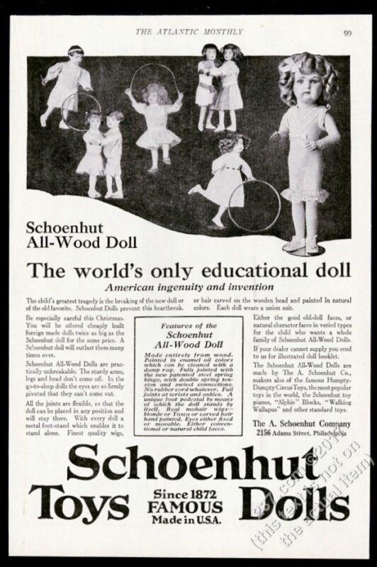 1917 Schoenhut toys wood doll 8 models photo Christmas vintage print ad
