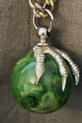 Vintage  Claw Pendent  Marbelized Green Bakelite Ball