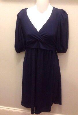 Olian S Maternity Dress SMALL Navy Blue Solid Crossover Nursing Wear Easter EUC - Olian Maternity Wear