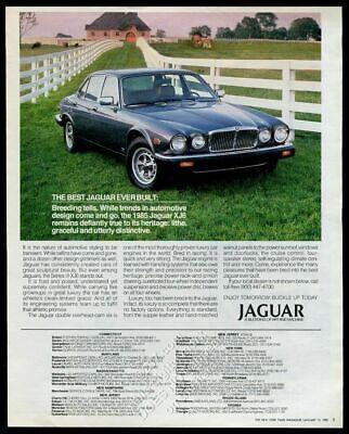 1985 Jaguar XJ6 Series III silver car at horse farm photo vintage print ad