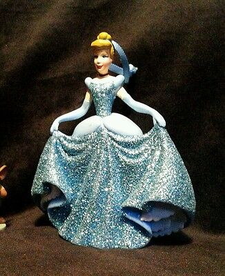 Disney Princess Cinderella Christmas Ornament  PVC Blue ball gown glitter