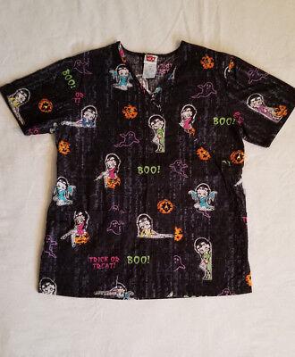BETTY BOOP XS Womens Halloween SCRUB TOP Extra Small Black w/ Ghost Boo - Boo Halloween Special