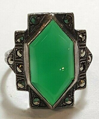 Art Deco Marcasite Ring - Art Deco Vintage Sterling Chrysoprase Marcasite Ring 1920-40 Size US 5.25 Pinky