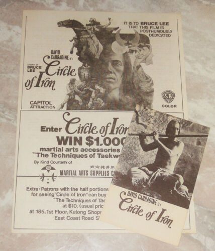Bruce Lee Circle Of Iron Flyer Postcard 1978 Silent Flute David Carradine Last
