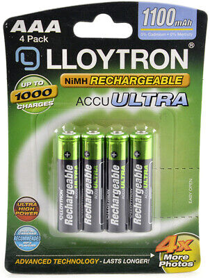 4 x Lloytron 1100 mAh AAA Rechargeable Ni-MH Batteries Phone Remote Camera UK