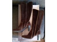 Womens Brown Suede Long Boots - by Principles - Size 37/4