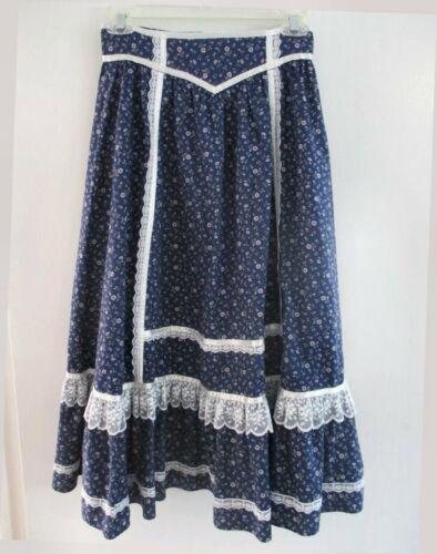 """Gunne Sax Skirt Navy Blue Floral White Lace Trim 25"""" Waist Prairie Skirt Good"""