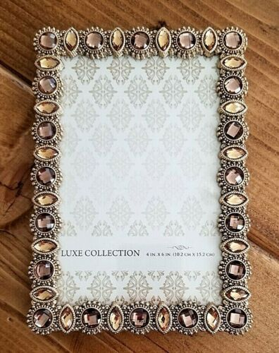 """Luxe Collection Gold Tone Bejeweled Stones Photo Picture Frame Tabletop 4"""" X 6"""""""