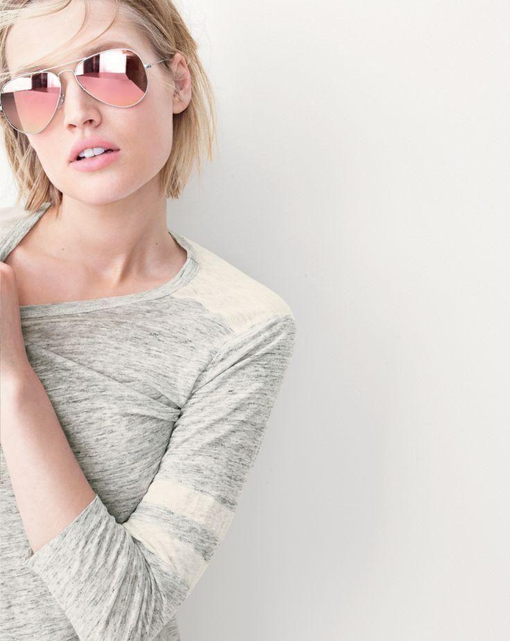 Rose Pink Gold Aviator Sunglasses Classic Vintage Mirror Len