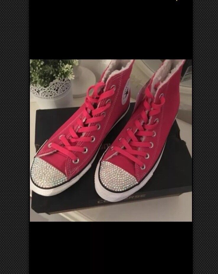CUSTOM SWAROVSKI CRYSTAL BLING CONVERSE PINK TRAINERS BOOT SIZE 6 Hi Tops  paid £85 9fb93539d6
