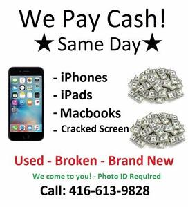 CASH FOR IPHONES, IPADS AND MACBOOKS!