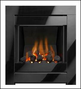 Black Modern Inset Gas Fire Coal Fireplace Open Fronted