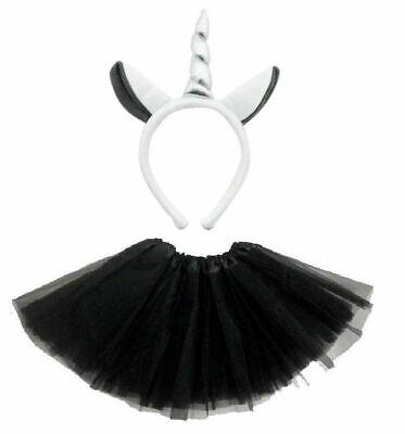 HALLOWEEN ZOMBIE GREY UNICORN COSTUME Ladies Kids Ghost Scary Fancy Dress NEW UK ()