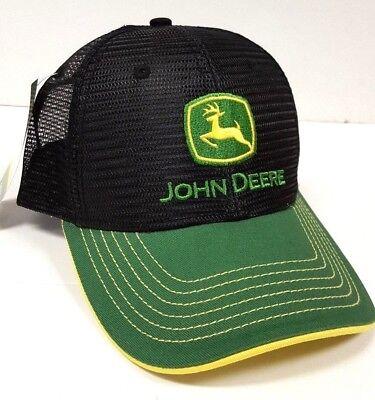 NEW John Deere Green Twill Visor Black  Mesh Back Cap  Hat LP67304 Twill Mesh Back Cap