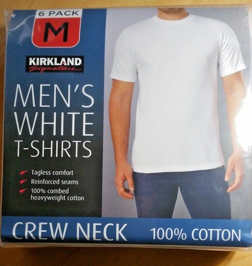 6-pack M Crew Neck White Premium Soft T-shirts Combed Cotton Kirkland